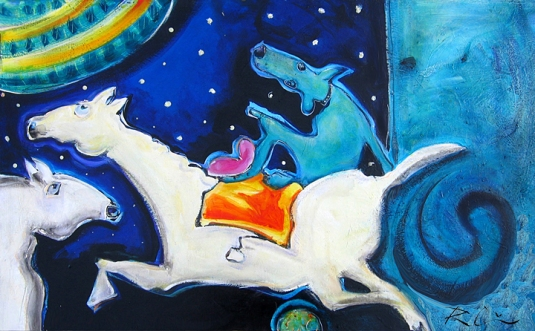 an image of two horses and a dog in blues, greens and white with a bit of pink, red and yellow.