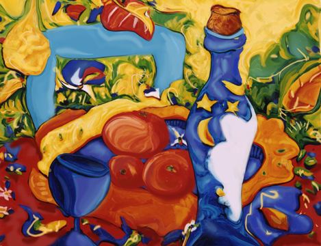 A photo of a still life painting of a wine bottle, talbe setting and plants thie background done in a whimsical style and with vibrant bold colours.