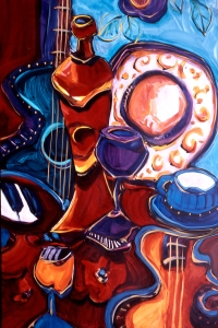 an image of a guitar, bottle of wine, wine goblet, cup and saucer a dinner plate and a few piano keys round out this colourful image of blues, rich reds and some bright whites.