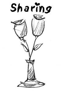 a black and white image of two flowers sharing one vase