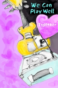 an image of a guitar and amp with a heart and the words We Can Play Together, the colours in this image are lavender, light blue and sunny yellow