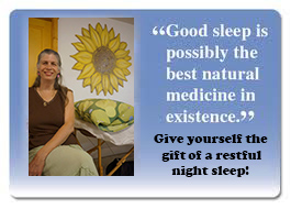 "an image with a light blue background fading to white at the bottom there is an image of a lady (me) sitting next to a reflexology table the words on the image say ""Good sleep is possibly the best natural medicine in existence."" Give yourself the gift of a restful night sleep."