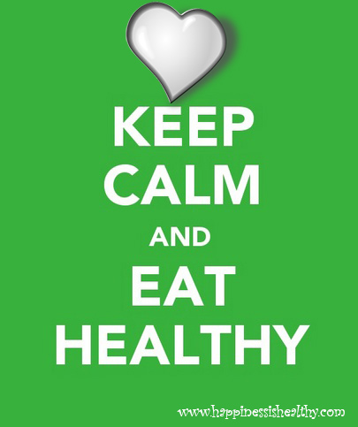 "an image with a green background a beautiful heart and the words in white that say ""Keep Calm and Eat Healthy"""