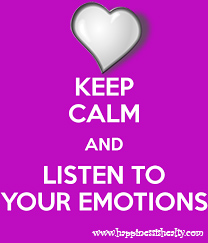 "an image with a purple pink background, a beautiful heart and the words ""Keep Calm and Listen To Your Emotions"""