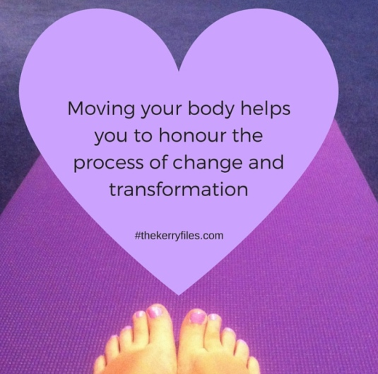 "an image of three purples, dark purple in the background on the top of the image, a pinkish purple on the bottom of the image with two feet, just the toes showing, with a lavender heart that says ""Moving your body helps you to honour the process of change and transformation. :~)"