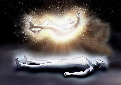 an image of a person laying still in black and white life like cartoon which has a golden body floating above it as if the soul is leaving the body the background of the entire image is black