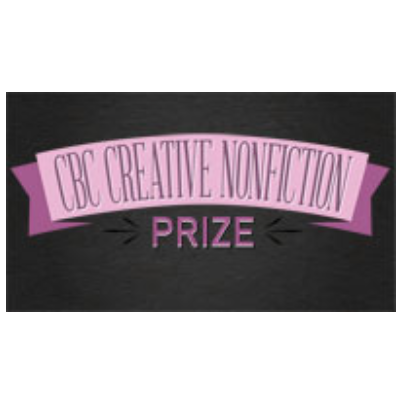 an image that has three colours, a black background and then dark pink and light pink with the words in black over light pink that read CBC Creative Nonfiction Prize